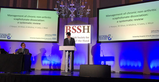 Presentation of research on wrist injury at the BSSH Spring Meeting in Bath